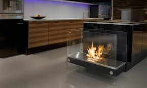 interior wall mount ethanol fireplace with concrete flooring also