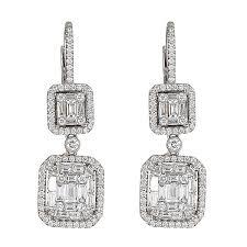white gold dangle earrings white gold dangle earrings with and emerald cut diamonds