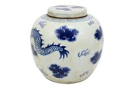 vintage style blue and white porcelain lidded ginger jar dragon