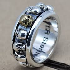 mens spinner rings men s sterling silver skulls spinner ring jewelry1000