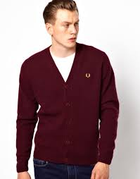 Burgundy Cardigan Mens Fred Perry Boiled Tipped Cardigan In Red For Men Lyst