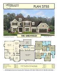 3 Story Homes Plan 3755 The Sheffield House Plans 2 Story House Plan