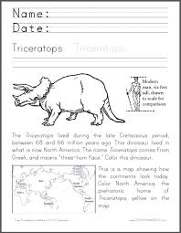 triceratops coloring worksheet student handouts