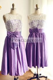 v back ivory lace purple taffeta tea length short bridesmaid dress