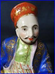 Ottoman Ruler Antique Porcelain Figure Of Ottoman Sultan Ruler