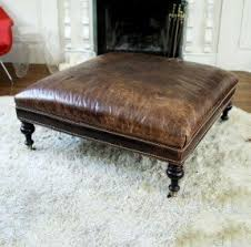 Square Brown Leather Ottoman Square Leather Ottomans Foter
