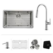 kraus all in one undermount stainless steel 32 in single basin