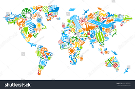Map Of The World Art by World Map World Symbols Tourism Travel Stock Vector 124257076