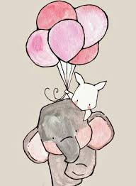 animals ball colors cute drawing elephant pink rabbit