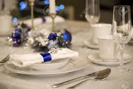 elegant blue and white christmas table setting stock photo