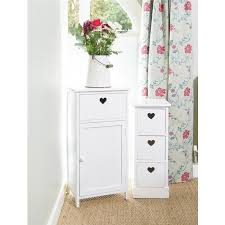 shabby chic white wood bedside storage unit drawers with heart cut out