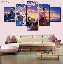 online buy wholesale rapunzel picture from china rapunzel picture 2017 hot sale 5 pieces unframed home decor tangled rapunzel flynn painting poster paint canvas room