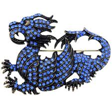 vintage style sapphire blue crystal dragon pin brooch fantasyard