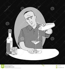 martini shaker drawing bartender pouring drink stock illustration image of cocktail