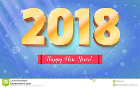 congratulation poster happy new year 2018 volumetric numbers from gold banner with