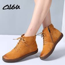 womens boots and shoes o16u ankle boots shoes genuine leather lace up boots