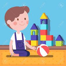 petit plat en chambre petit garçon jouant avec une balle dans une chambre moderne vecteur