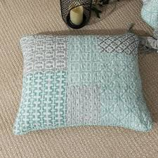 Geometric Coverlet Dada Bedding Contemporary Mint Green Grey Geometric Quilted