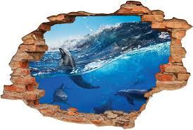 stickers trompe oeil mural stickers trompe l u0027oeil 3d dauphin pas cher
