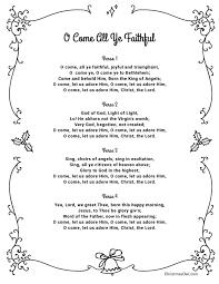 printable lyrics free printable lyrics for o come all ye faithful