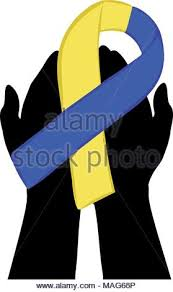 blue and yellow ribbon blue and yellow ribbon awareness symbol stock photo