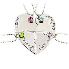 friendship heart necklace images Best friend forever and ever quot friendship necklace set 4 pieces jpg