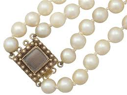 necklace clasps vintage images Double strand cultured pearl necklace with 18 ct gold clasp jpg