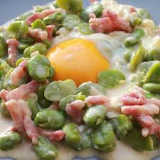 cuisiner des f钁es fraiches fèves fraiches à la crème lardons oeufs terre d opale