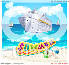 clipart of a cruise ship and beach with text and sailboats in the