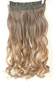 Light Brown Hair Extensions 3 4 Full Head Clip In Hair Extensions Ombre One Piece 2 Tones Wavy