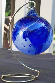 blue wave blown glass ornament made from ri made from ri
