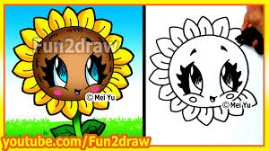 easy things to draw how to draw a sun flower fun2draw art