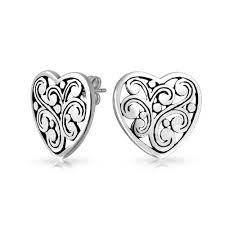 heart stud earrings large antique sterling silver filigree heart stud earrings