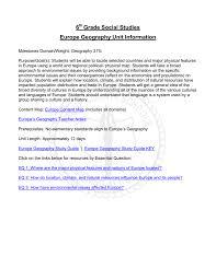 6 grade social studies europe geography unit information
