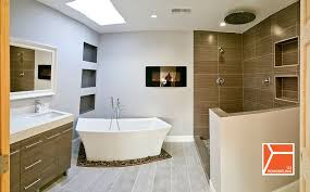 modern master bathroom with specialty door by 123remodeling