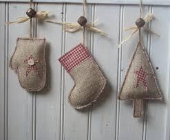 handmade rustic christmas tree stocking u0026 mitten decoration made