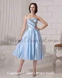 allens bridal satin strapless tea length a line cocktail dress
