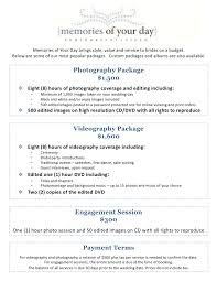 wedding photographers prices wedding photography package pricing memories of your day