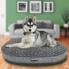 costco pet beds kirkland signature 42 round bed gray rainfall faux suede gray