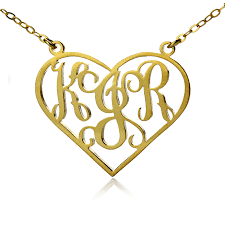 personalized heart pendant solid gold initial monogram personalized heart necklace