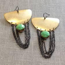 Gunmetal Chandelier Earrings Shop Green And Gold Chandelier Earrings On Wanelo