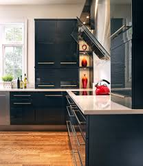 kitchen kitchen cabinets black industrial with aluminum backsplash