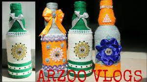 Wine Bottle Home Decor Diy Home Decor Ideas Beautiful Flowers Vase Yarn Wrapped