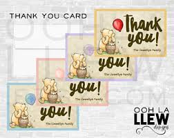 pooh thank you card etsy