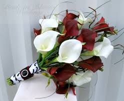 bouquet of lilies white calla wedding bouquet in bloom