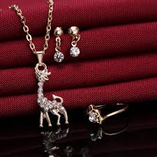 jewelry necklace rings images Gold plated giraffe necklaces rings earrings jewelry set jpg