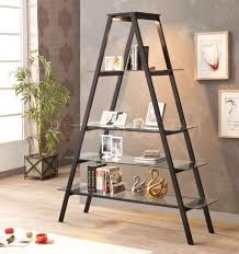 Wooden Ladder Bookcase by Ladder Bookcase Alternative Decor Features Black Iron Frames And