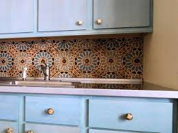 small kitchen decoration using light blue subway moroccan tiles kitchen simple kitchen decoration using light blue kitchen cabinet including orange blue flower patterned