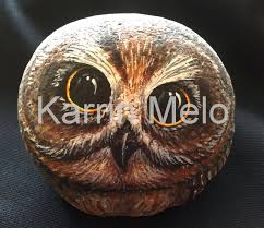 painted rock painted stone owl garden art yard decor