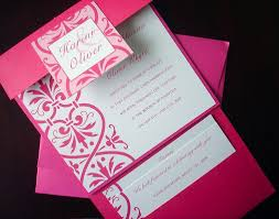 wedding pocket invitations azalea fuchsia damask square pocket fold invitation set bridal